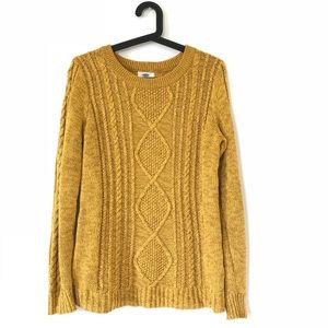 Old Navy Mustard Yellow Cable Knit Sweater Small